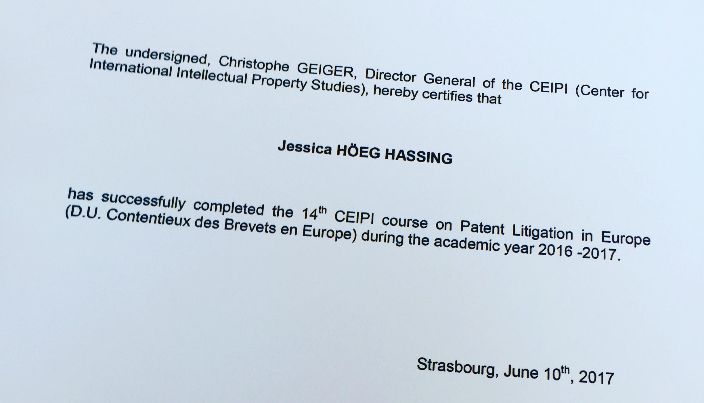 Jessica certificate